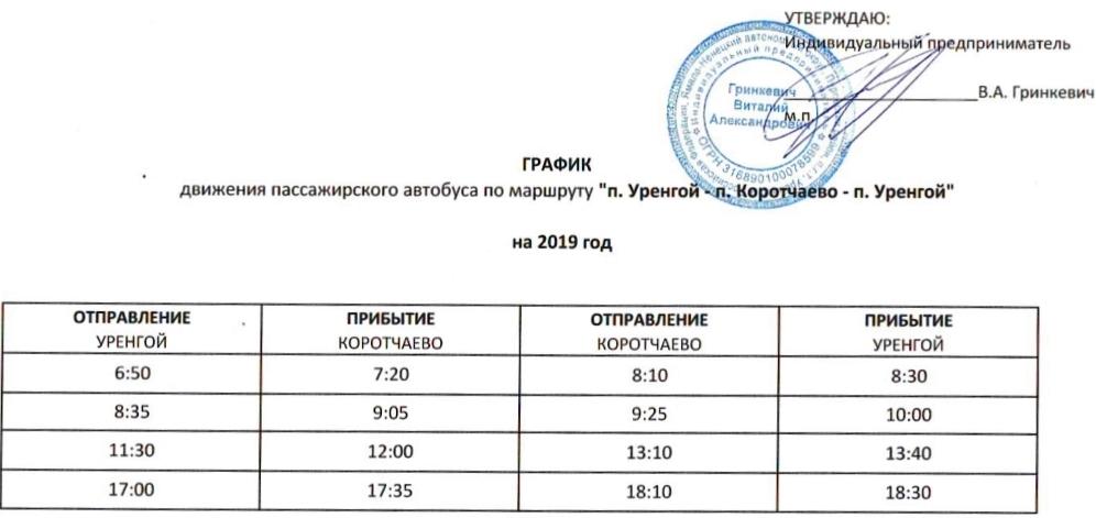 Расписание Коротчаево